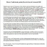 Coletiva de Imprensa: Blocos Tradicionais podem ficar de fora do Carnaval 2020